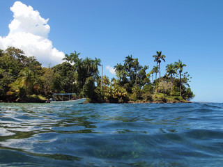 Boat near a tropical island