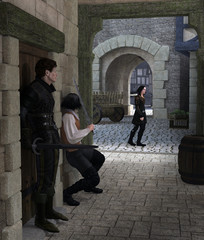 Fototapete - Ambush in a Medieval Alley