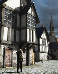Fototapete - Medieval Town Watchman