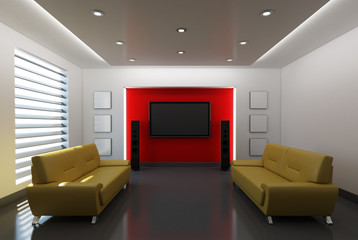 Modern Interior with Red Background