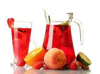 sangria in jar nad glass with fruits, isolated on white