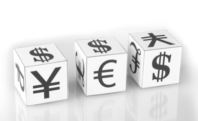 forex. currency in the white dices on white background