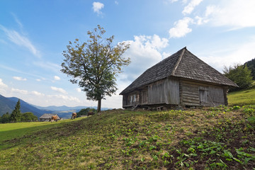 Classic old wooden house in a landscape of Carpathians.