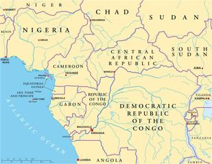 Central Africa map (Zentralafrika Landkarte)