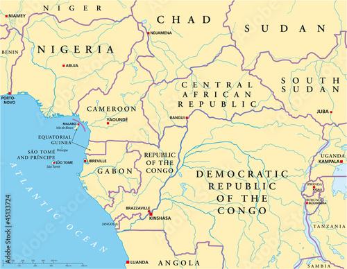 Central Africa map (Zentralafrika Landkarte)\