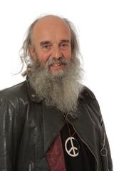 Fototapete - portrait d'un vieil hippie heureux