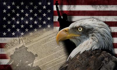 Bandera de Estados Unidos de América y símbolos de su democracia