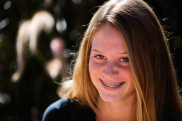 happy girl with braces