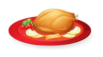 chicken flesh in a dish