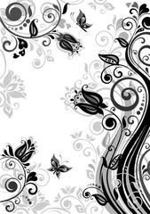 Vintage floral poster (black and white)