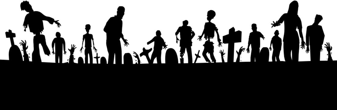 Graveyard zombies footer