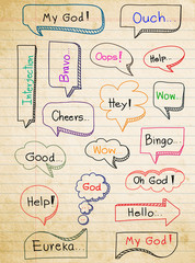Hand-drawn, colorful speech bubbles on paper background