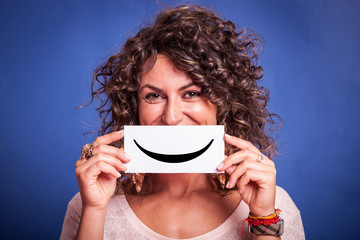 Young Woman with Smiley Emoticon