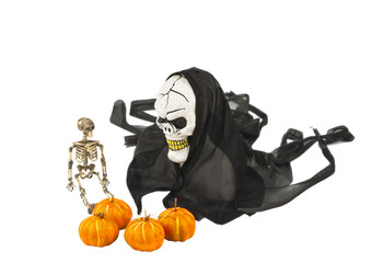 Halloween skull and pumpkin decoration