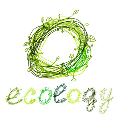Green ecology concept, hand drawn design