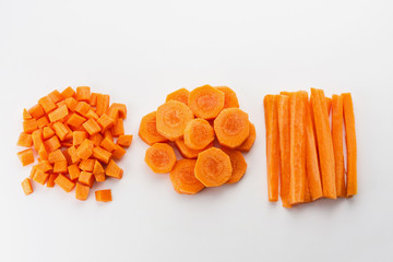 Fresh carrots sliced and diced
