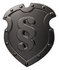 metal emblem with paragraph symbol