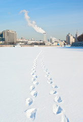 Fototapete - Frozen Moskva River in Moscow, Russia.