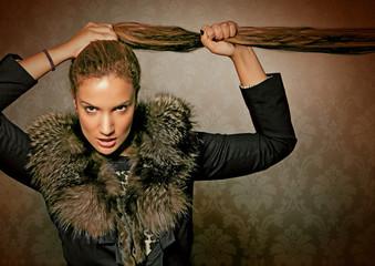 fur 03/wild luxus lady with furcoat