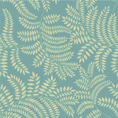 Leaves seamless pattern on green background