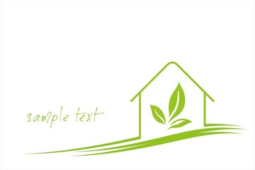 Home , leaves, green Eco friendly business logo design