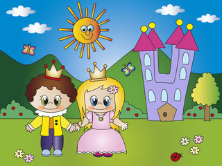 Poster Castle princess and prince