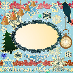 Vector scrapbooking luxury set for Christmas