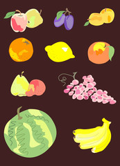 Collection of colorful fruits and berries