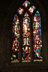 A Beautiful Rural Church Stained Glass Window.