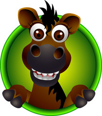cute horse head cartoon