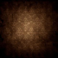 old grunge background texture with wallpaper pattern