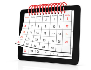 tablet computer with calendar