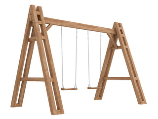 Wooden A-frame with swings