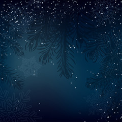 Night Christmas background with whirling snow