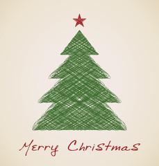 Christmas sketch fir tree, retro design
