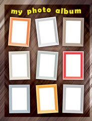 Set of color photo frames on abstract background