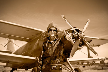 Portrait of beautiful female pilot