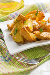 Rustic oven baked potatoes with parsley