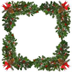 Christmas border against white