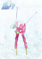 cross country skiing - hand drawing