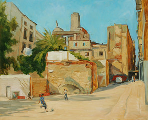 children playing football in a court yard,  illustration, painti
