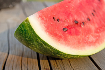 Corner of Watermelon On Table