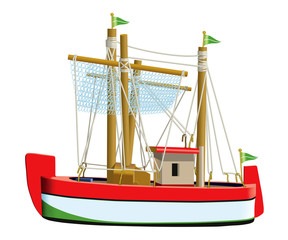 Little fishing ship model isolated on a white background