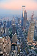 Fototapete - Shanghai aerial at sunset
