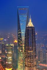 Fototapete - Shanghai aerial at dusk