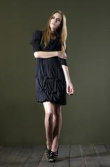 beautiful fashion woman in posing wooden floor