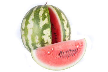 fresh watermelon slices on a white background
