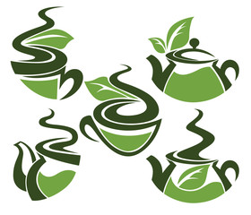herbal tea,  collection of cups and tea pots