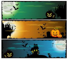 Halloween banners, set