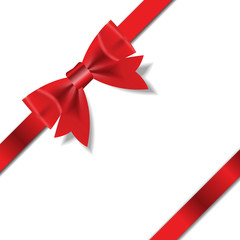 Red Gift Ribbon . Vector illustration